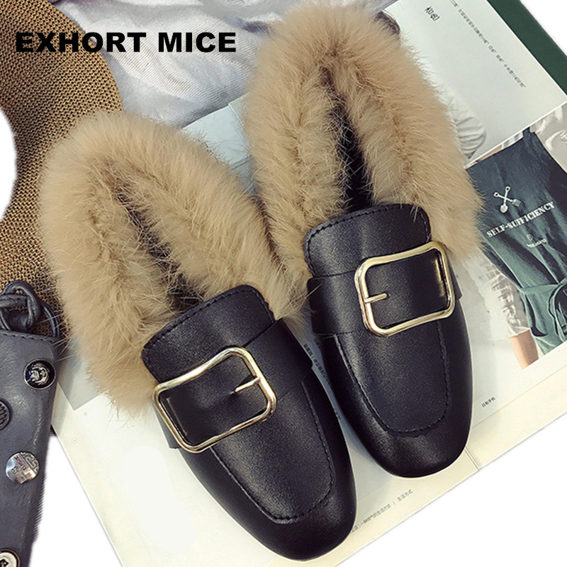 Autumn plush shoes female 2017 new Korean wave wild flat shoes a pedal lazy Peas shoes female winter Short Plush  Buckle 2015 summer shallow mouth of canvas shoes women shoes a pedal lazy shoes casual flat white shoes korean wave shoes