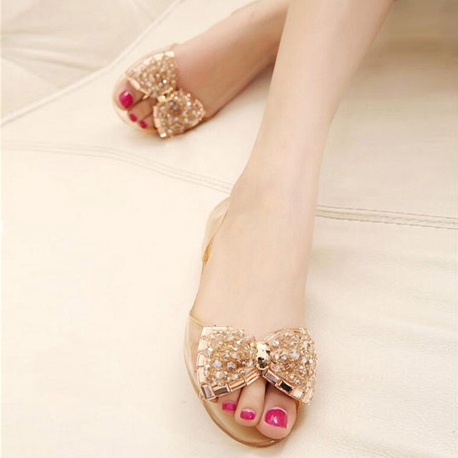 Summer sandals jelly crystal bow beaded sandals women s comfortable  drazzling rhinestone transparent clear flat shoes-in Women s Sandals from  Shoes on ... 61412284a93c