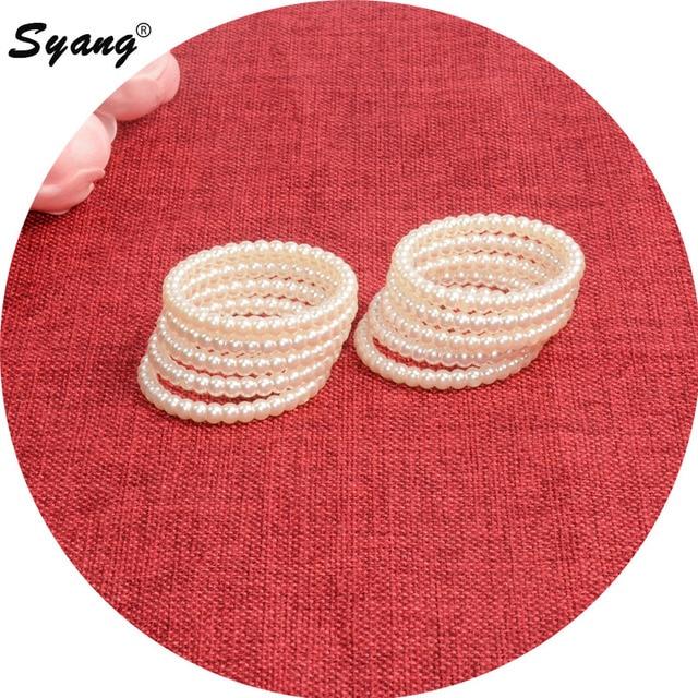 Большие круглые кольца с имитацией жемчуга бусины ручной работы