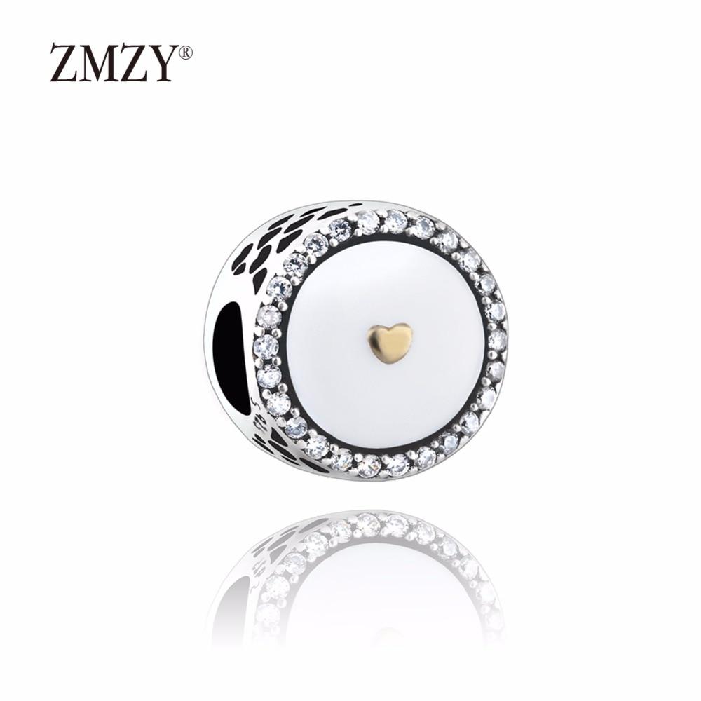 ZMZY Original 925 Sterling Silver Charms Love Heart CZ White Enamel Beads Fits Pandora Charm Bracelet DIY Making Women Jewelry