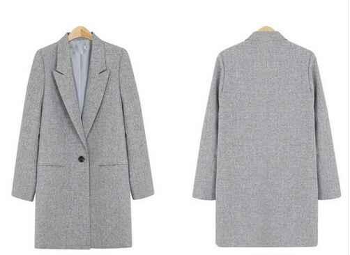 2019 Venta caliente primavera mujeres Casual Blazers delgados abrigos cuello entallado manga completa solo botón Chaquetas de punto de moda Y99