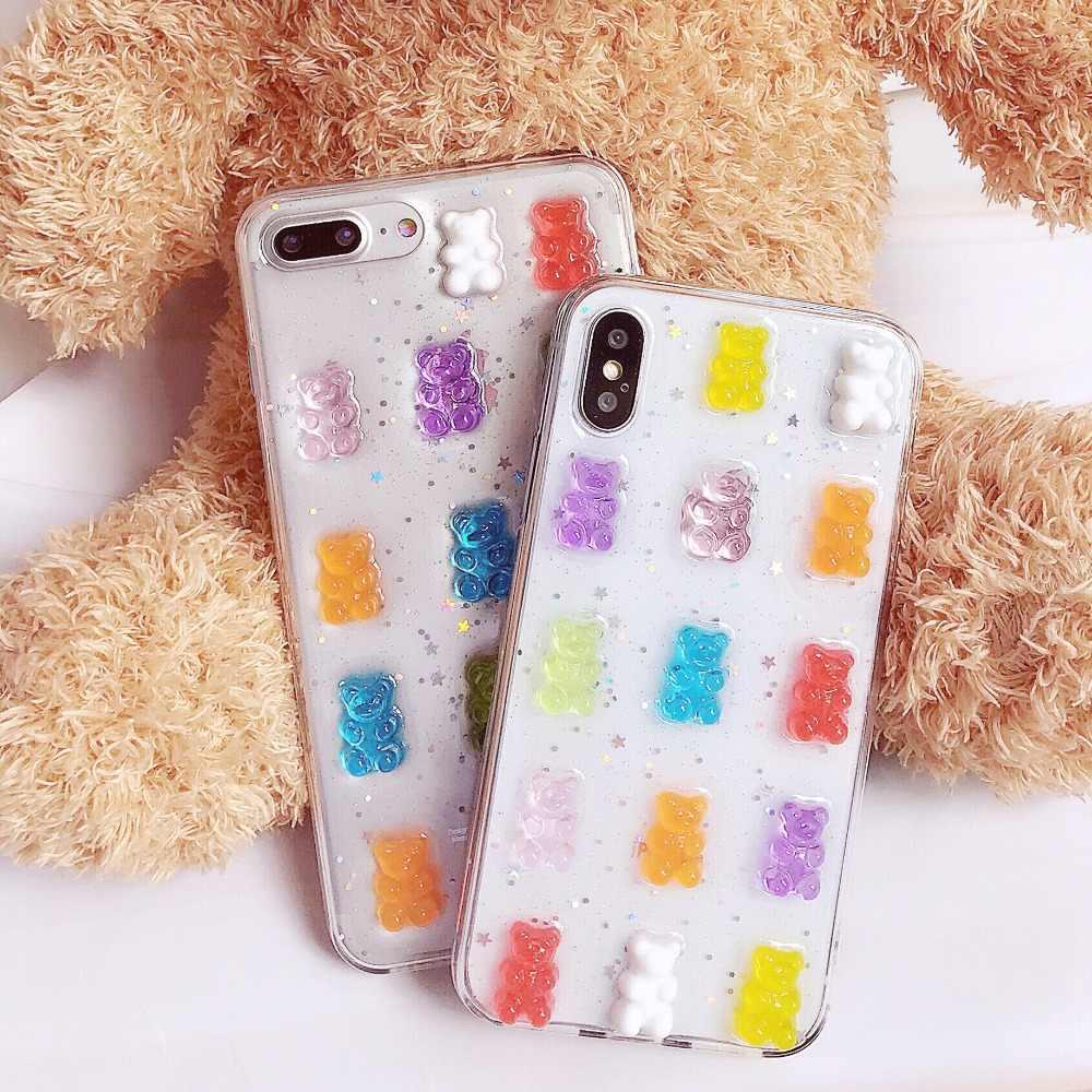 Haissky Bling Glitter Phone Case For iPhone X 6 7 8 Cute Bear Transparent  TPU Phone f38b6be3394a