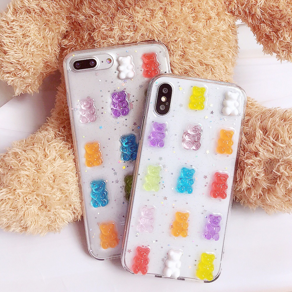 Detail Feedback Questions about Haissky Bling Glitter Phone Case For iPhone  X 6 7 8 Cute Bear Transparent TPU Phone Cover for iPhone 6 7 8 Plus Back  Cover ... 9d5c49d13123