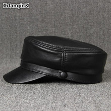 XdanqinX Womens Genuine Leather Cap Simple Elegant Sheepskin Military Hats For Women Autumn Winter Mens Brand Visor Hat Unisex