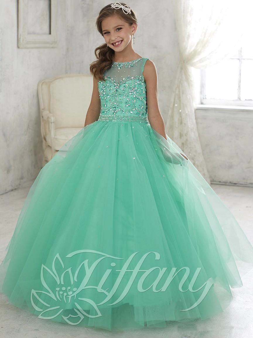 Wedding Little Girls Dresses aliexpress com buy 2016 mint green little girls pageant dresses tulle sheer crew neck beaded crystals flower princess kid
