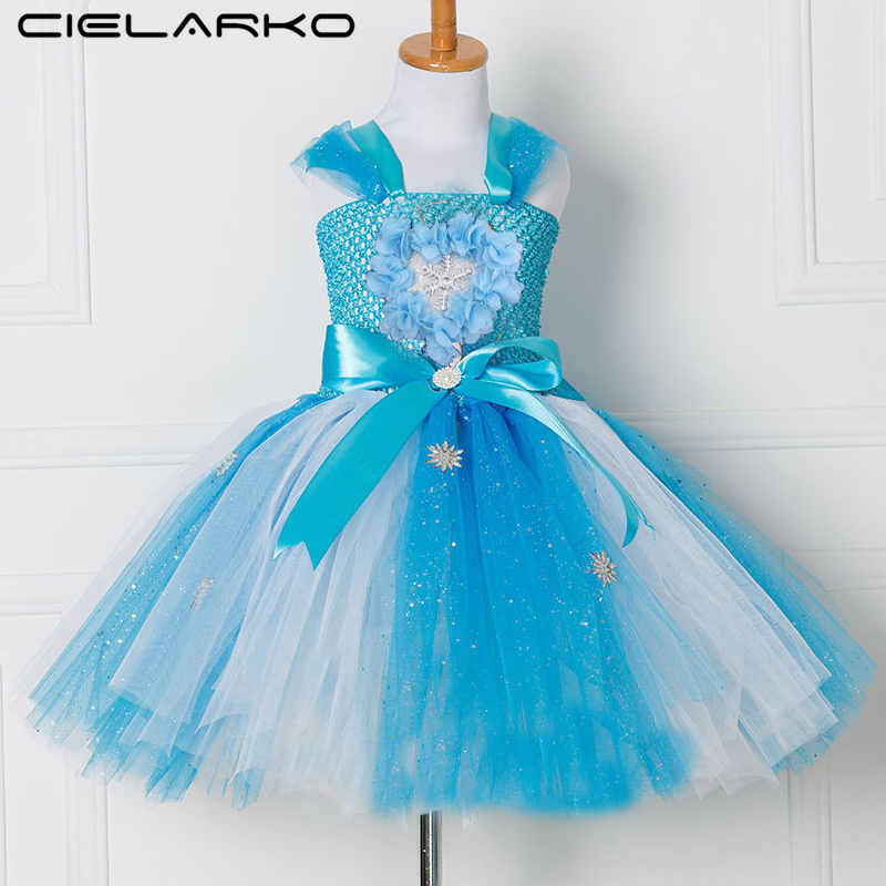 Cielarko Tutu Girls Dress Summer Blue Kids Party Dresses Birthday Princess Outfits Floral Frock Children Clothing for 2-10 Years mottelee girls princess dress blue kids party tutu dresses birthday summer baby outfits floral toddler frock children clothing