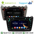 "Quad Core 8 ""5.1.1 HD 1024*600 Android Carro DVD Player de Rádio Estéreo FM DAB + 3G/4G WIFI GPS Mapa Para Mazda 6 Ruiyi Ultra 2008-2012"