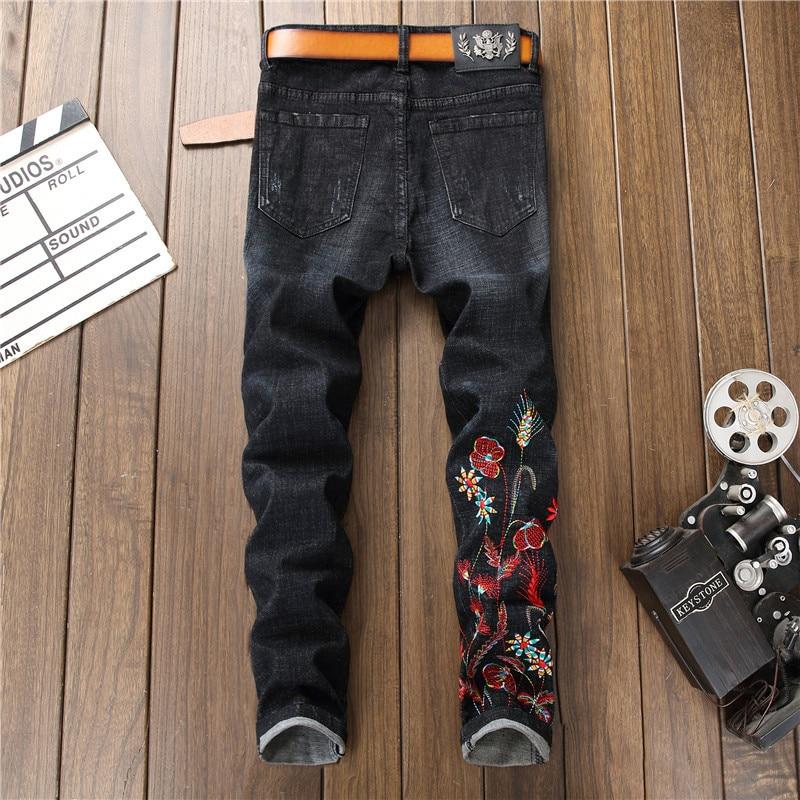 Pantalon 2018 Denim Taille Punk Plus Cowboys Jeans Skinny Broderie Hommes La Floral Homme Jeune Noir Casual Déchiré 7TqU7r