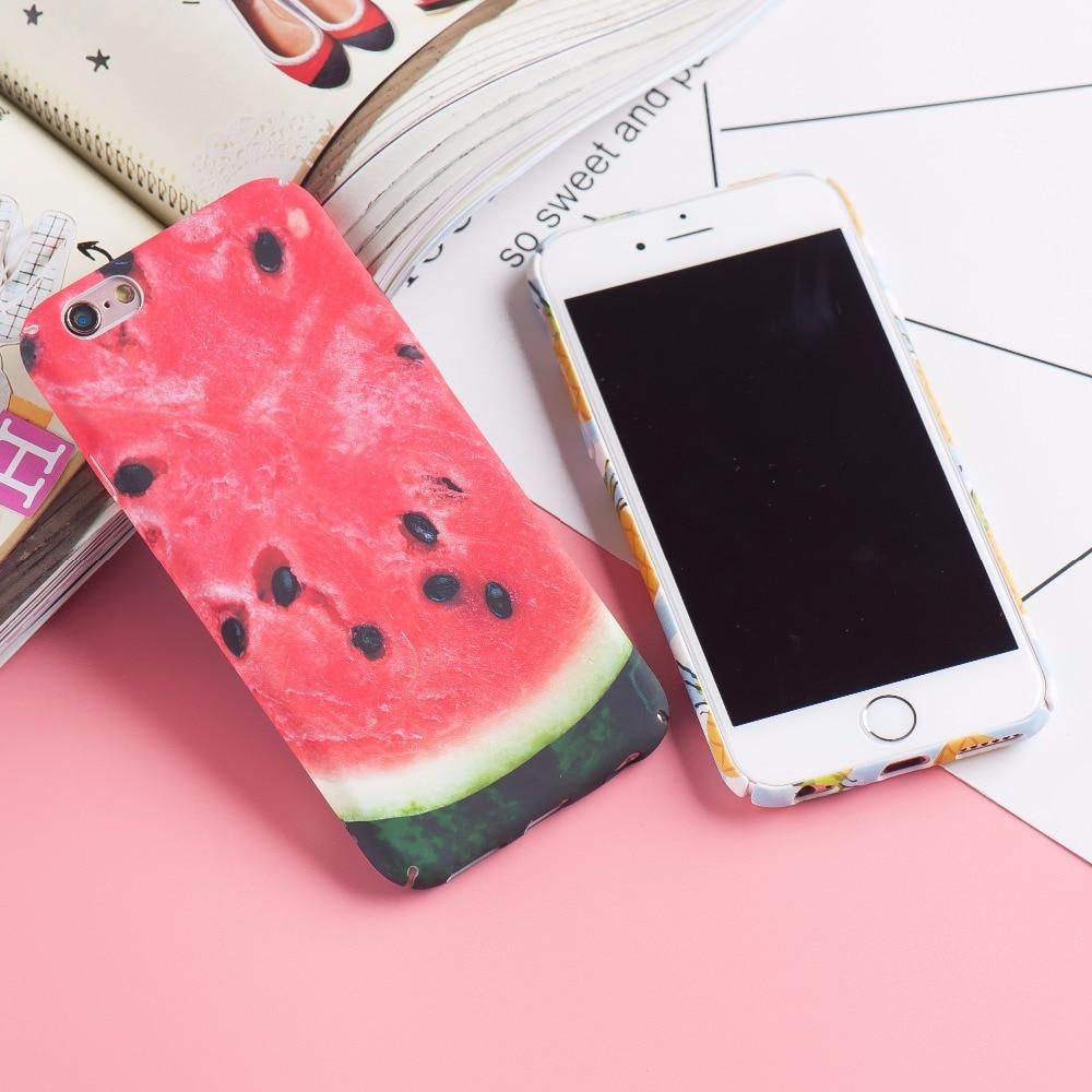 Cute Summer Watermelon Pineapple Delicious Fruit Hard Plastic Matte Phone Cases Cover For iPhone 7 7Plus 6 6S Plus 6Plus