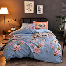 Beautiful Floral Plant AB Side Style Printing BEDDING Bed Sheets Pink and Blue Blooming Flower 4pcs Bedding Set duvet cover set