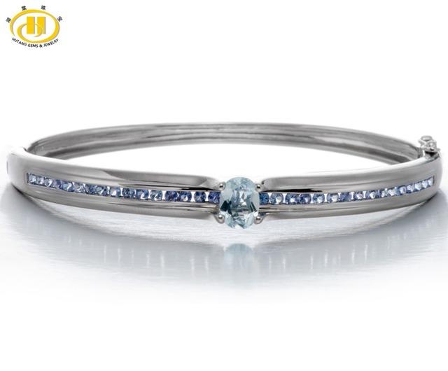 Hutang Women's Real Sky blue topaz & Tanzanite Bangle Bracelet Gemstone Solid 925 Sterling Silver Fine Jewelry Best Gift 7.25″