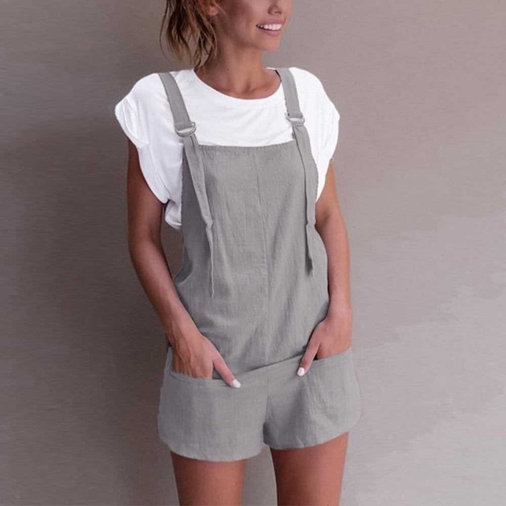 Casual Linen Cotton   Jumpsuits   Female Strapless Pockets Short Wide Leg Trouser Womens Summer overalls Beach Cami Clothing 2018