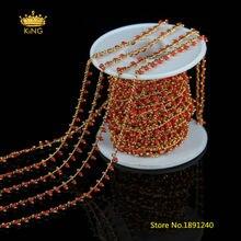 Цепочки с круглыми стеклянными бусинами для ожерелья 5 м/лот