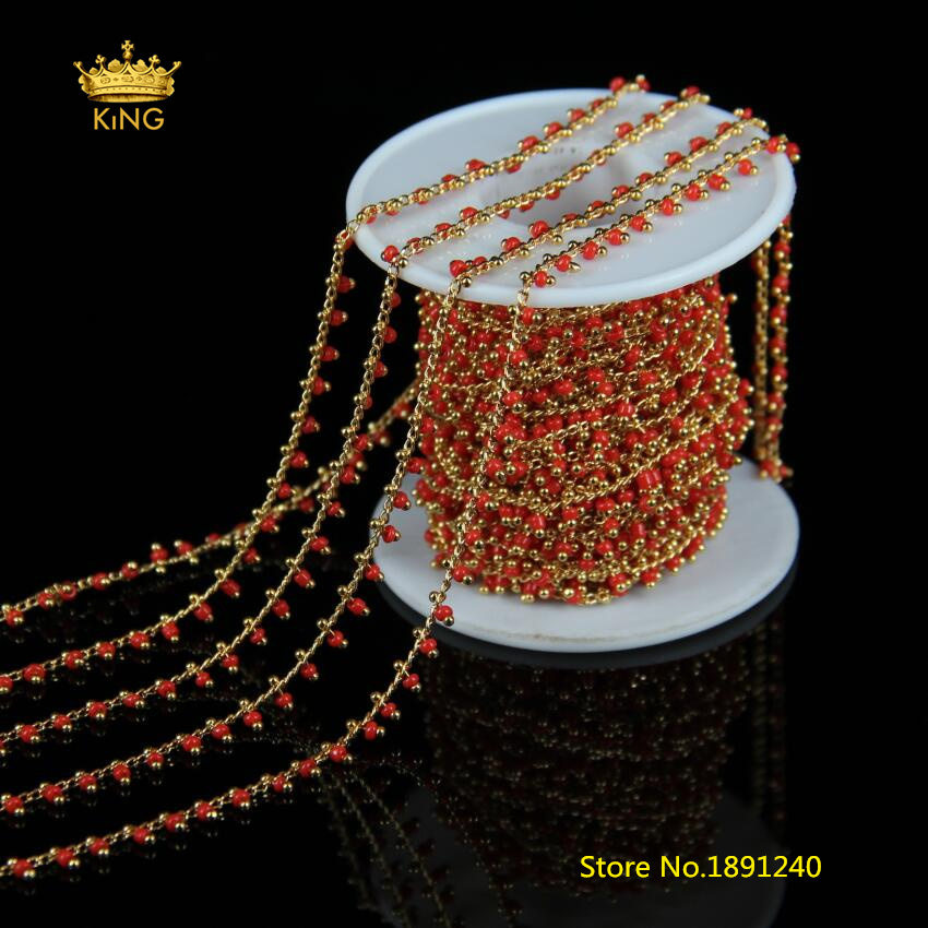 5meters/lot 2mm Rosary Chains Round Glass Beads Chains for Necklace,Gold Color Copper Plated Red Glass Chains Jewelry Bulk HX0935meters/lot 2mm Rosary Chains Round Glass Beads Chains for Necklace,Gold Color Copper Plated Red Glass Chains Jewelry Bulk HX093