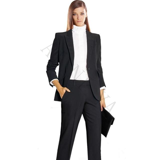Chaqueta + pantalones para mujer trajes de negocios negro para mujer  uniforme de oficina Formal ropa d31ddbfcbc45