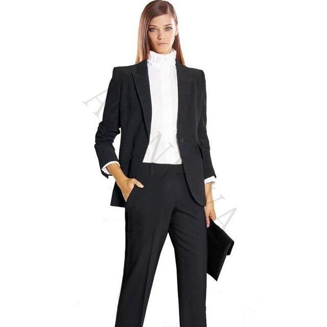 cb8c333ac4df US $93.06 6% OFF Jacke + Hosen Frauen Anzüge Schwarz Weibliche Büro  Einheitlichen Formalen Arbeitskleidung Einreiher Damen Hosenanzug 2 Stück  Sets ...