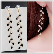 EK750 HOT Statement Fashion Jewelry Luxurious Long Tassel Crystal Beads Leaf Drop Earring For Women Boucles d'oreilles Brincos
