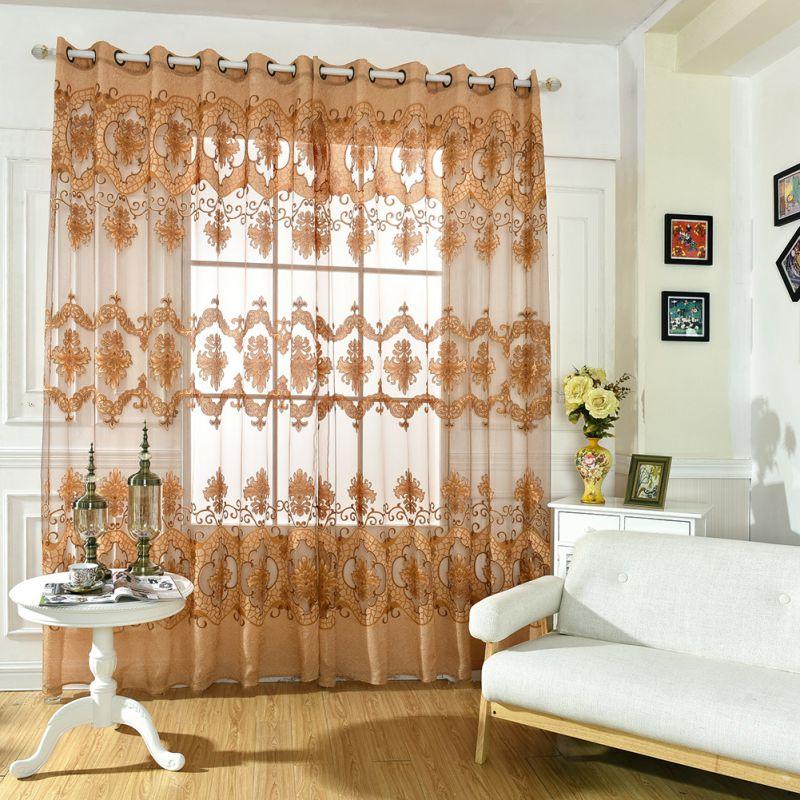 Curtain Drape Panel Sheer Scarf Valances Floral Door Room