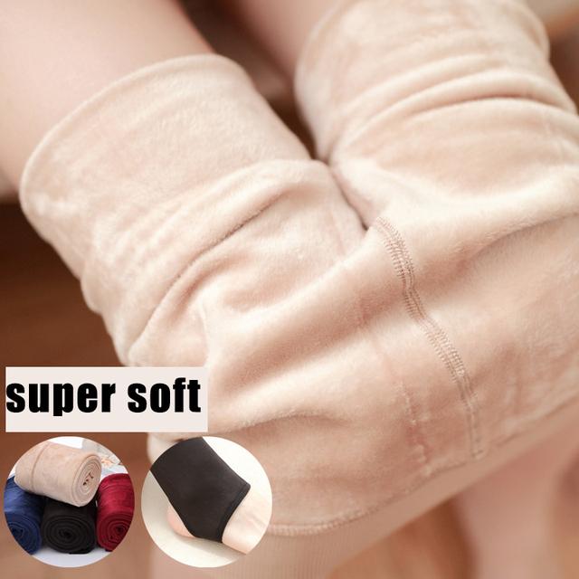 2016 Inverno MULHER Collants Calças Quentes alta elasticidade MACIO e Espesso Thermo Meia-calça na Cor Sólida Super Macio e Quente para menina