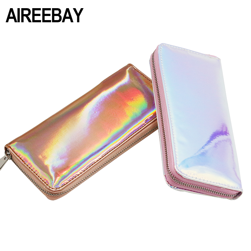 AIREEBAY Hologram Wallet Female Clutch Long Holographic Ladies Bag Girl With Zipper Coin Purse Card Id Holders Women WalletsAIREEBAY Hologram Wallet Female Clutch Long Holographic Ladies Bag Girl With Zipper Coin Purse Card Id Holders Women Wallets