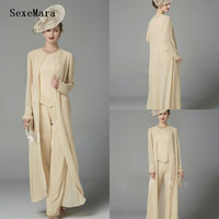 bd63ddd306 3PCS Mother Of The Bride Pants Suits Outfits Jackets Groom Guest Gowns  Sequined Lace Long Sleeves