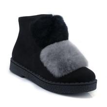Здесь можно купить  QZYERAI winter fox fur warm flat women shoes Big size 34-45 comfortable casual style shoes rubber wear-resistant soles