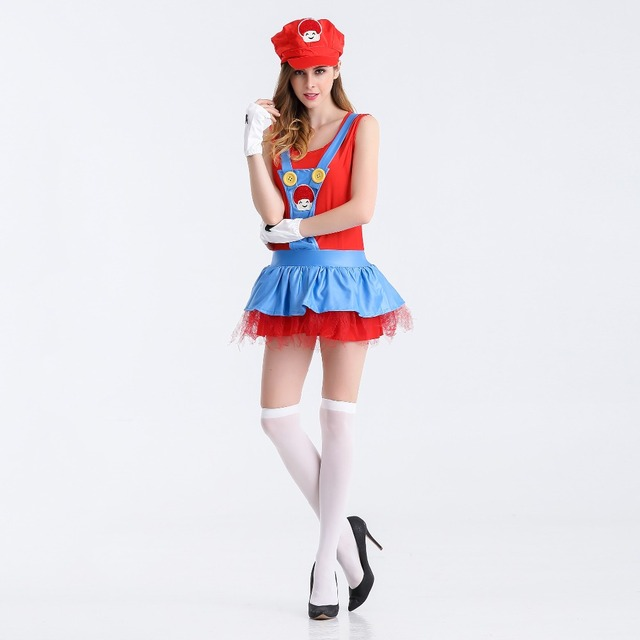 Women s Anime Cosplay Adult Super Mario Costume Ladies Sexy Super Mario  Luigi Brothers Cosplay Costume For Halloween Fancy Dress 165a6b1d2