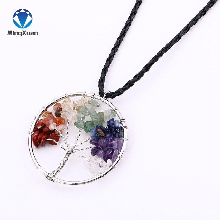 MINGXUAN Handmade Wisdom Life Tree Pendant 7 Chakra Stone Rainbow Crystals Necklaces Women/Men Valentines Day Gift