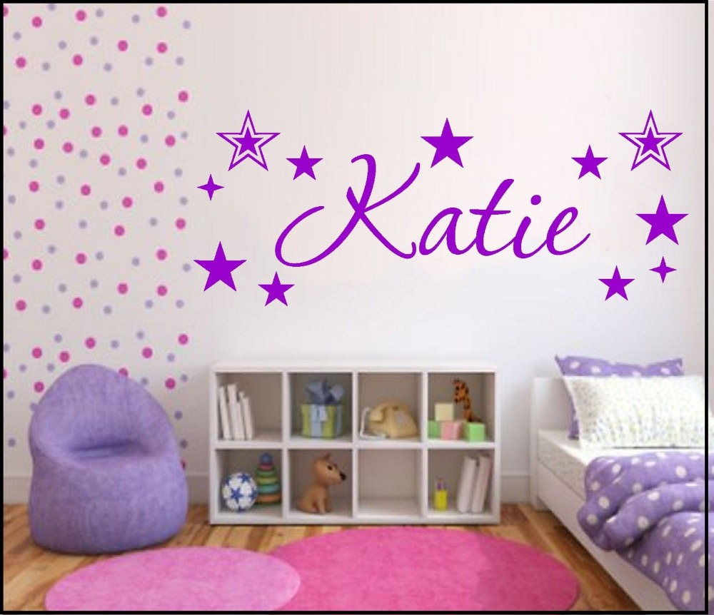 T07075 Creative wall sticker stars custom name, boy baby room decorative wall stickers, removable stickers Environmental Art