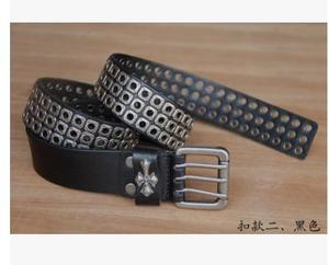 Image 2 - Free Shipping,Top new natural 100% cow leather buckle belt.brand genuine leather fashion vintage rivet belts,self defense tool