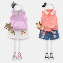 2016 Summer Female Lace Turn-Down Collar Baby Child Girl Sleeveless Soild Colour Shirt