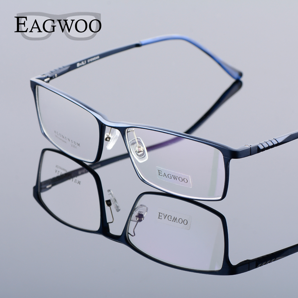 Eagwoo hombres de aluminio ancho Cara prescripción Gafas ópticos ...