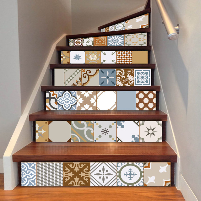 6pcs Set 18cm X 100cm Personality Style Ceramic Tile Stairs Decoration Sticker Art Pegatinas