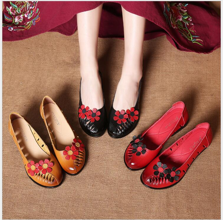 Spring Summer Flat Shoes Woman Genuine Leather 2018 Cut-Outs Round Toes Flower Slip-On Women Flats vallu spring summer women flats genuine leather pointed toes handmade original shoes basic women ballerina slip on flat shoes