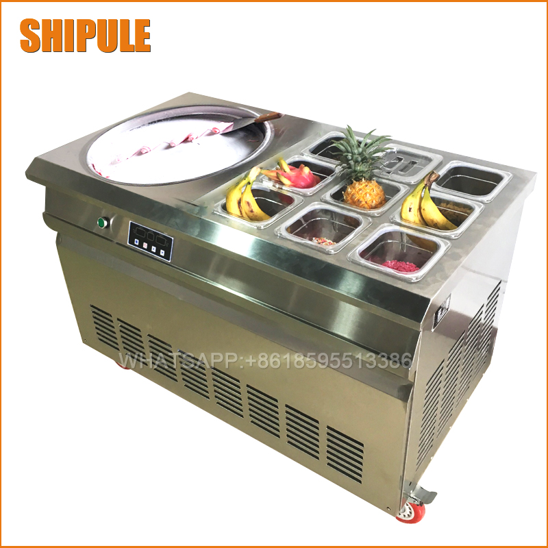 Free shipping fried ice cream roll machine / Thailand fry ice cream machine single pan with 6 buckets and refrigerated R410A free shipping thailand single pan with 6 barrels fried ice cream roll machine with refrigerant