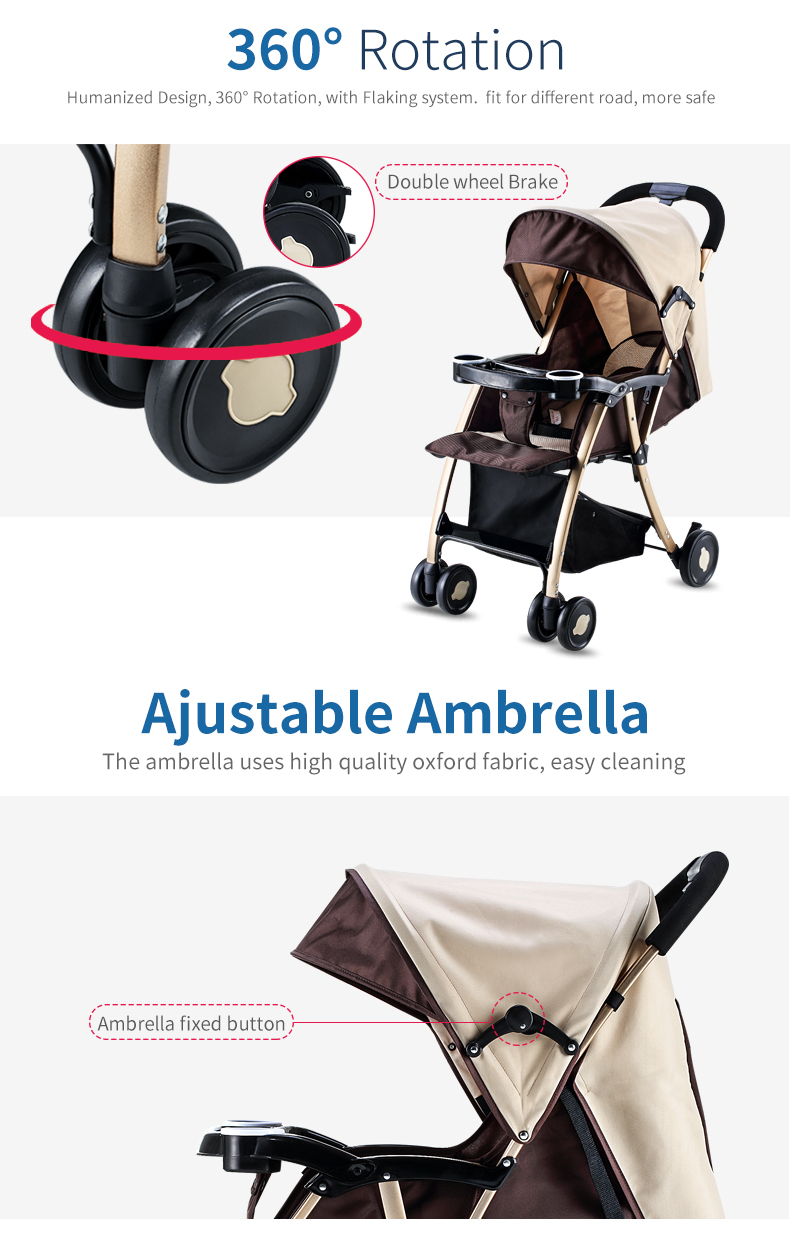 GL Baby Stroller Folding Umbrella Sit and Lie Portable Strong Alloy Steel Material 5
