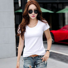 Cotton Solid Short Sleeve Casual Tops Slim Basic T Shirt For Women