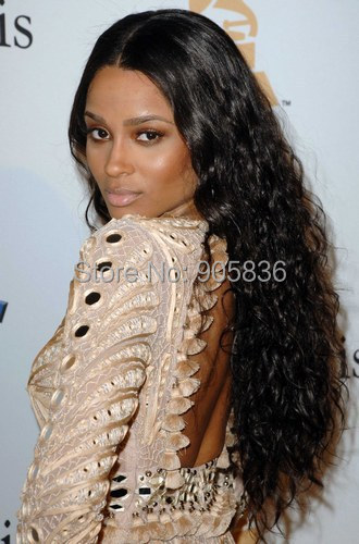 Celebrity Ciaras Long Curly Hairstyle Natural Black Hair Extension Lace Front Human Wig For