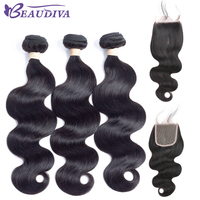 Beaudiva Pre Colored 1B Brazilian Raw Hair Body Wave 3 Bundles With Lace Closure Non Remy