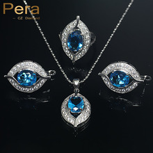 Pera 925 Sterling Silver Jewelry Sets For Women 11 Colors CZ Crystal Wedding African Bridal Simulated Gemstone Jewerly Set J004(China)