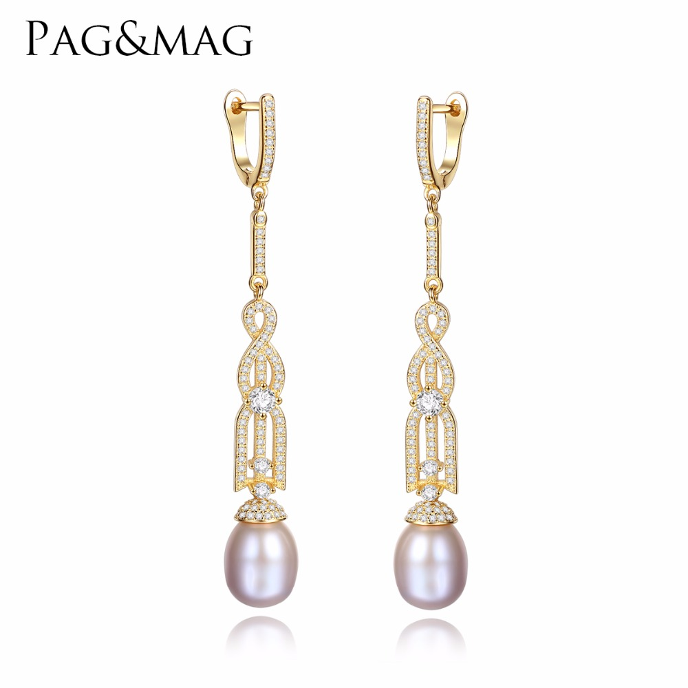 PAG&MAG Brand 925 Sterling Silver Long Clip Earrings Fine Jewelry Natural Freshwater Pearl Female Bohemia Bijoux Accessories