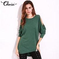 Women Tshirt Fashion Tee Shirt Plus Size 5XL Long Sleeve Pullover Sexy Hollow Out O Neck