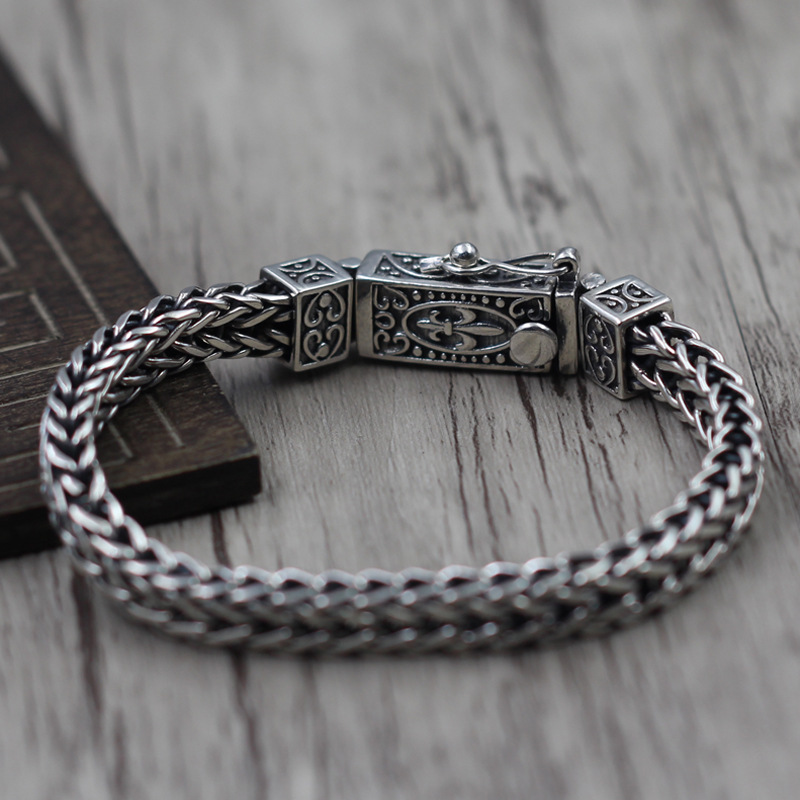 925 sterling silver jewelry make do old man character anchor bracelet grain Retro bracelet Thai silver