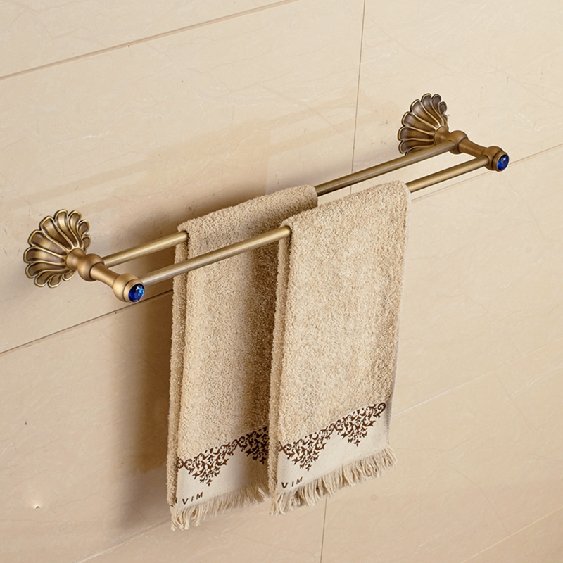 NEW Antique Brass Bathroom Towel Rack Holder Dual Towel Bar Hangers Wall Mounted