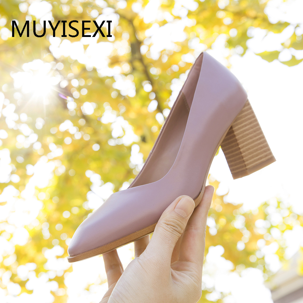 Genuine Leather Glossy Shoes Women High Heel 7 cm Round Toe Shallow Pumps chaussure femme Purple