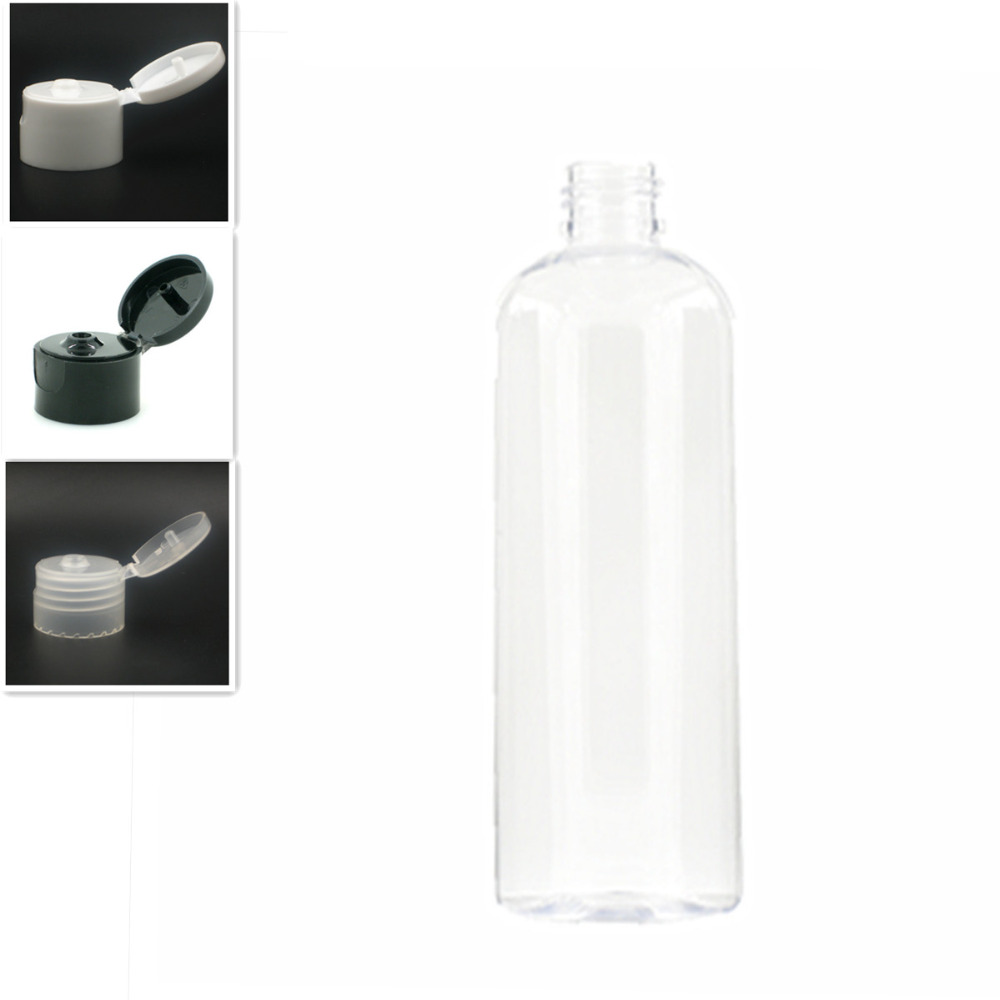 Empty White Dispensing Caps Plastic Bottles, 300ml/10oz Clear PET Bottle With  Flit Top Cap