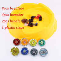 New Beyblade Set 8pcs Beyblade 4 Launchers 2 Handles 1 Arena Spinning Top Classic Toy With