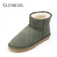 Brand Genuine Leather Women Snow Boots Fur Plus Size Winter Warm Waterproof Short Ankle Boots Platform
