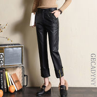 High Grade Women PU Leather Pants For Autumn Winter Thicken Warm Black Stretchy High Waist Casual