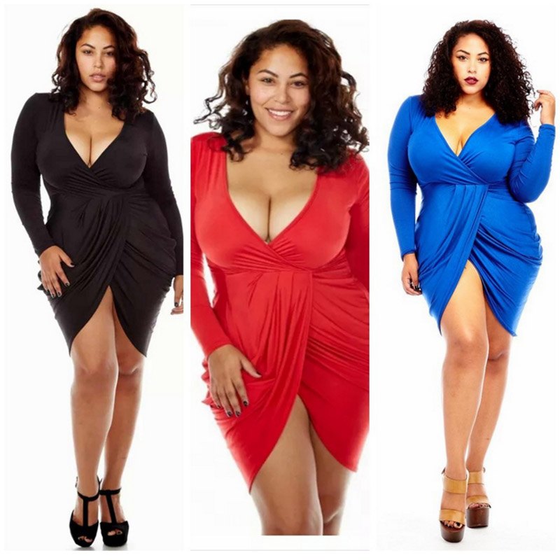 Plus Size <font><b>3XL</b></font> V Neck Long Sleeve <font><b>Sexy</b></font> Bodycon Club Party Irregular <font><b>Dress</b></font> Women Mini Red White Black Casual Summer Bandage <font><b>Dress</b></font> image